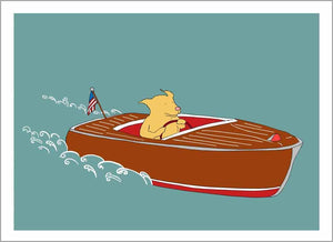 Dog in Speedboat Card