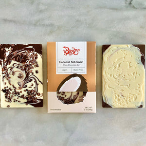 Coconut Nib Swirl Chocolate Bar (Vegan)