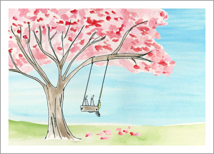 Pink Tree with Swing Card