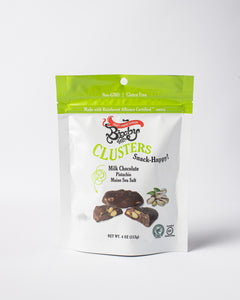 Milk Chocolate + Pistachio + Maine Sea Salt Clusters
