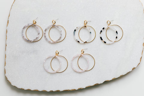 Gold and Resin Drop Hoop