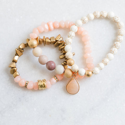 Rose Stone Stretch Bracelet