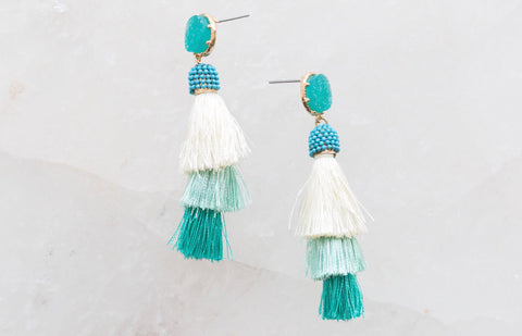 Ombré Beaded a Tassel With Druzy