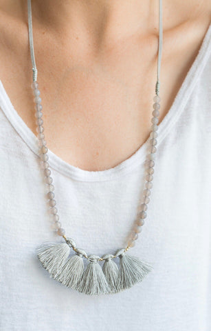 Stone Bead and Fabric Tassel Necklace
