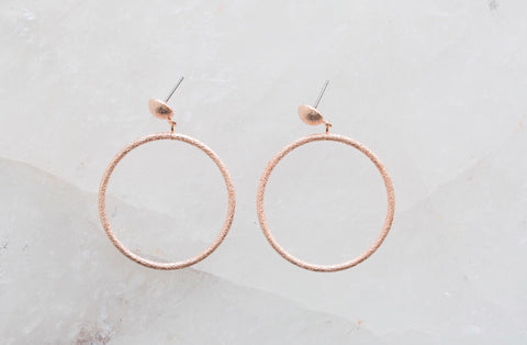 Rose Gold Drop Hoops
