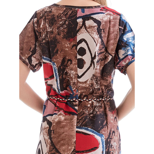 Women Short Sleeve Print O Neck Midi Dress
