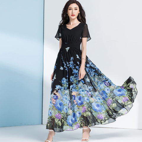 V-neck floral shirred waist maxi dresses