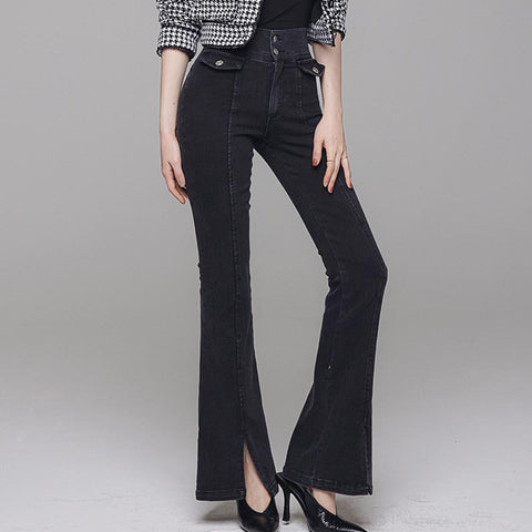High waist solid jean flare pants