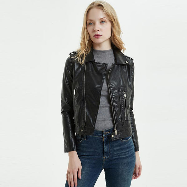 Turn-down collar zipper moto jackets
