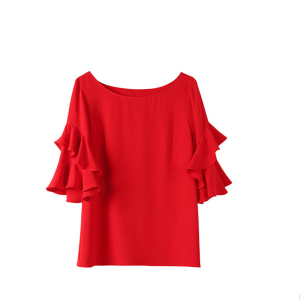 Scoop neck chiffon blouses with ruffled sleeve - Fancyever