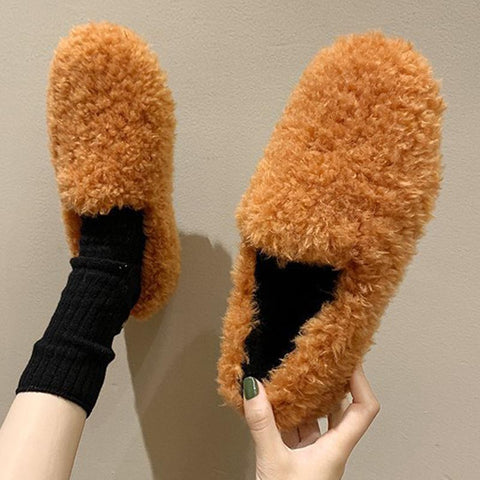 Fur solid rounded loafers