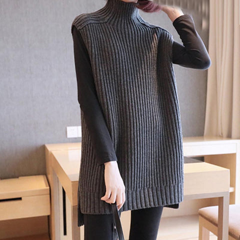 Turtleneck ribbed asymmetric knitted vests