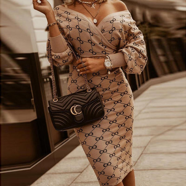 Print stretchy lantern knitted bodycon dresses