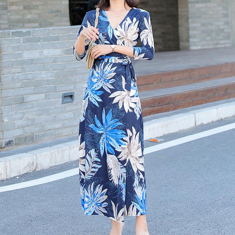 V neck printed floral ribbon maxi dresses