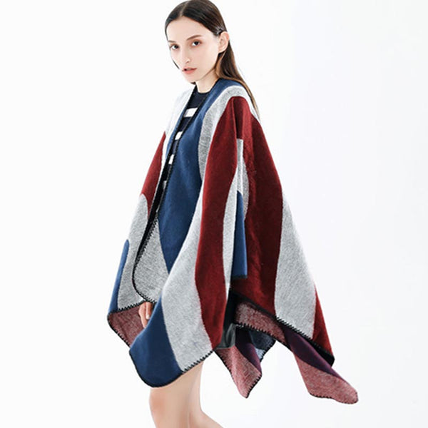 Color-blocked striped shawls scarves - Fancyever