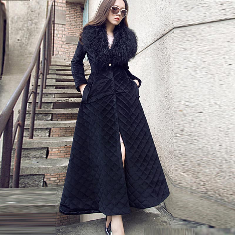 Faux fur gathered waist quilted long coats