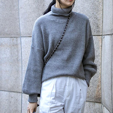Turtleneck pullover solid sweaters