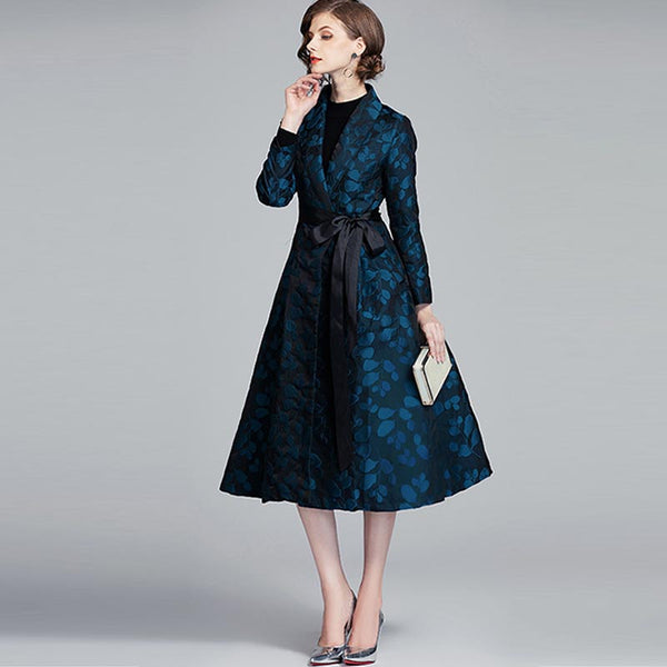 Jacquard belted slim trench coats