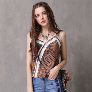 Print lace patchwork camisoles