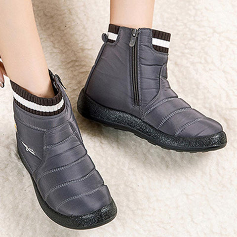 Water-resistant solid zipper fur winter boots