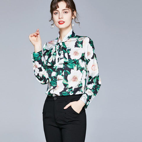Turn down collar printed floral blouses