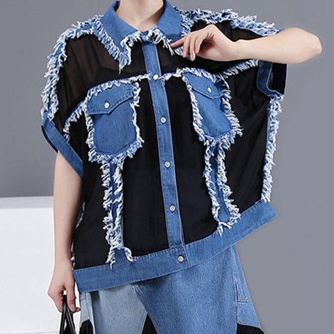 Lapel chiffon patchwork transparent t-shirts