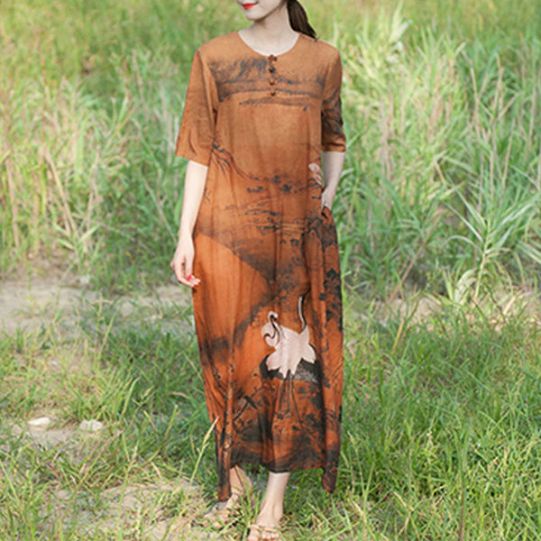 Print linen shift maxi dresses