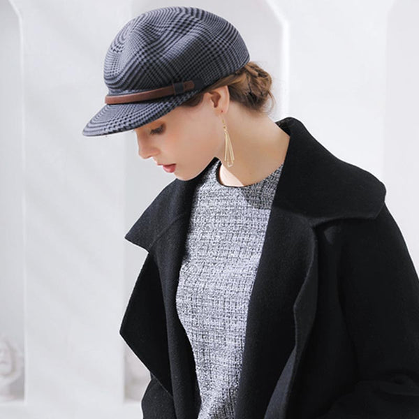Houndstooth leather newsboy caps-grey - Fancyever