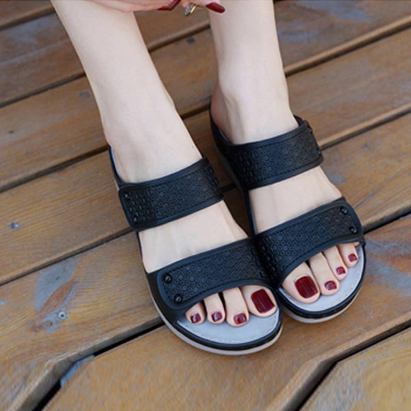 Open toe wedge heel leather slippers