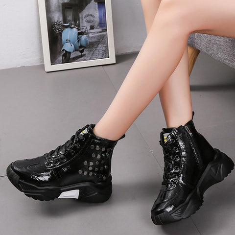 PU leather rivet lace-up platform sneakers