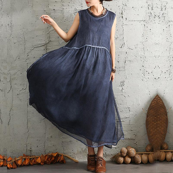 Crew neck sleeveless big hem dresses - Fancyever