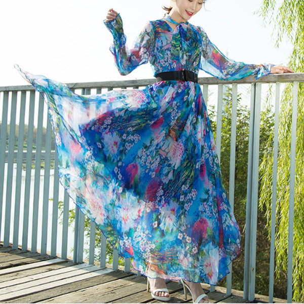 Boho v-neck long sleeve floral big hem maxi dresses