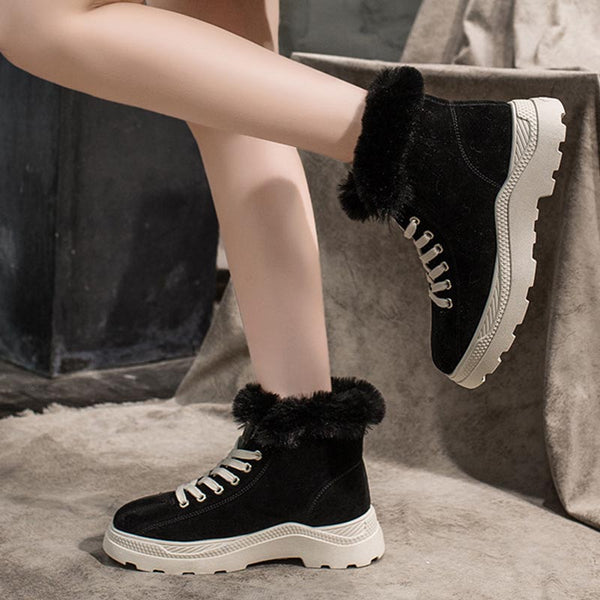 Rounded toe cross straps winter shoes