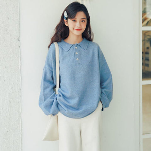 Polo collar solid color loose sweaters