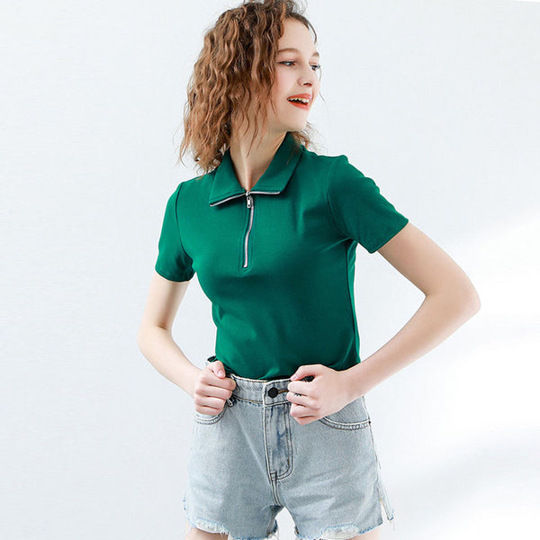Green turn-down collar zipper-front crop tops