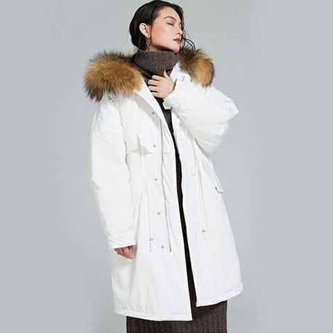 Hooded drawcord thick duck down coats