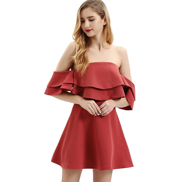 Off-the-shoulder falbala short party dresses - Fancyever