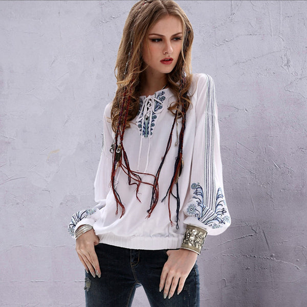 Embroidered drawcord pullover blouses - Fancyever