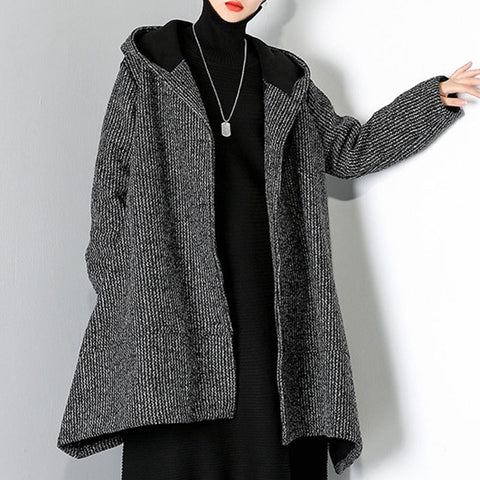 Single-breasted hooded high-low trench coats