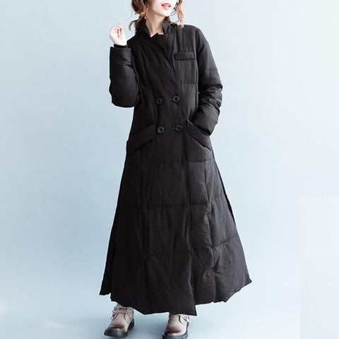 Stand collar double-breasted slit down coats