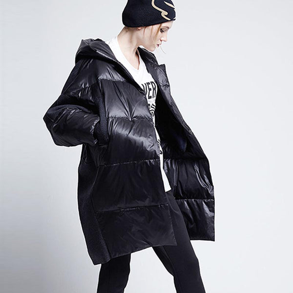Patchwork hooded bat sleeve down coats