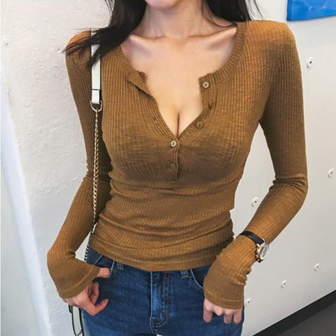 Sexy thin slim button front knit tops