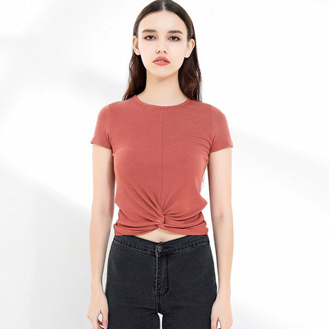 Basic ribbed soft knot crop tops