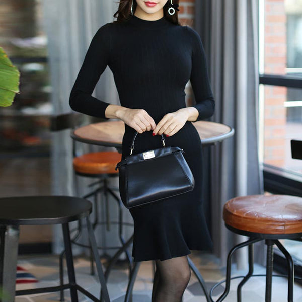 Crew neck ruffle mini knitted dresses