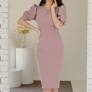 Puff half sleeve solid bodycon dresses