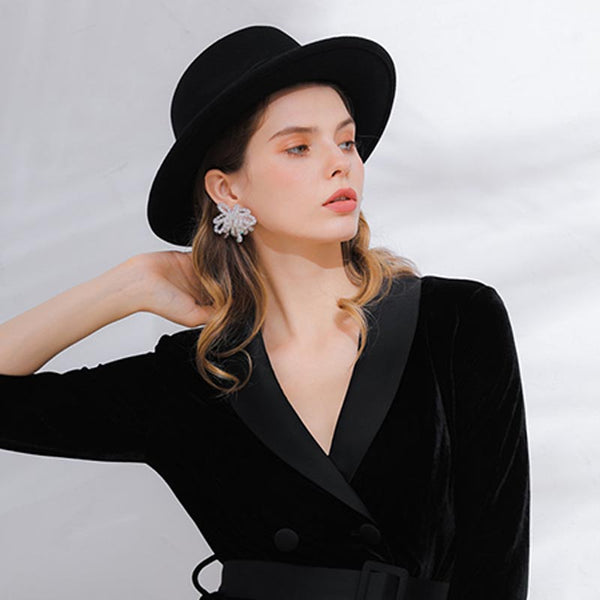 Letter embroidered wool bowler hats - Fancyever