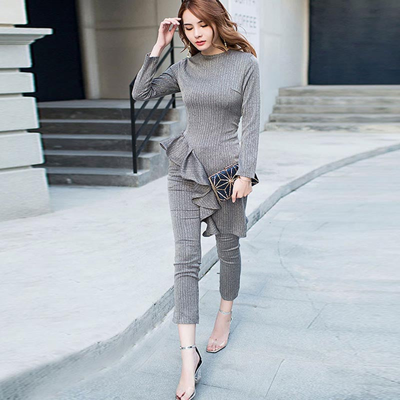 Ruffled asymmetric top pant suits