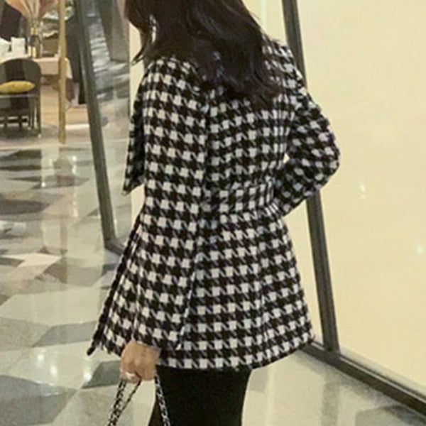 Lapel houndstooth loose coats