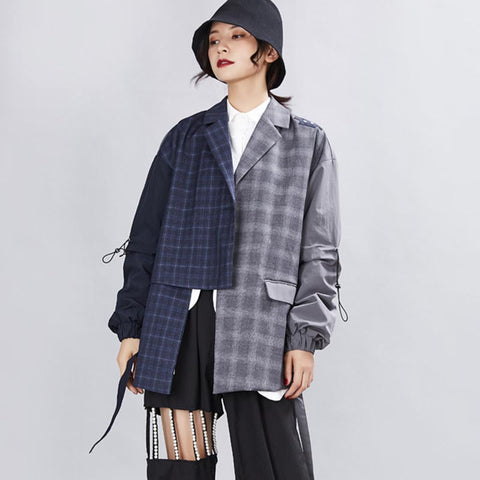 Plaid patchwork turn-down collar blazers
