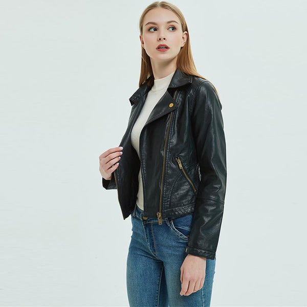 Turn-down collar slim moto jackets